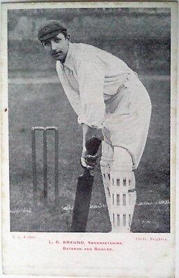 LEN BRAUND ENGLAND TO AUSTRALIA 1903 CRICKET POSTCARD
