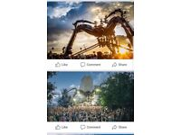 2 tickets to arcadia festival Sunday 6th May £80 for the pair