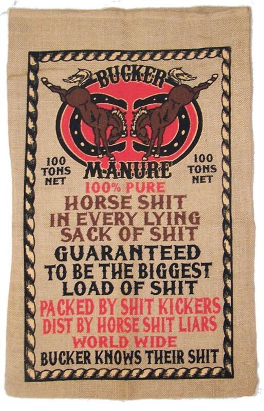 BUCKER HORSE **** BURLAP BAG 042 PRINTED bags sack storage hanging MANURE CRAP