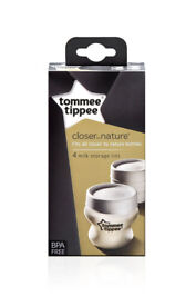 Tommee Tippee Closer to Nature Milk Bottle Storage Lids 4 Lid Storing BPA Free (Brand New)