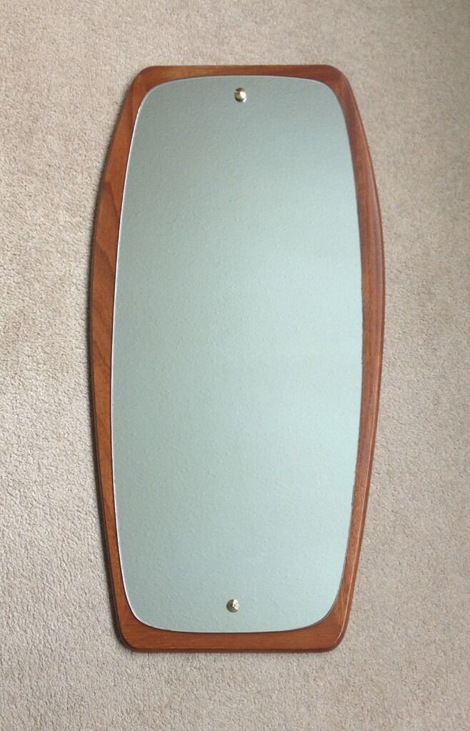 Mid Century Modern Teak Oblong Retro Wall Mirror Danish