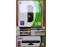 XBOX 360 250gb boxed with 2 controllers, Kinect and 15 games