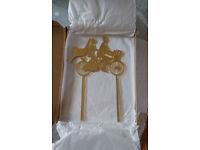 Wedding cake topper gold bicycle