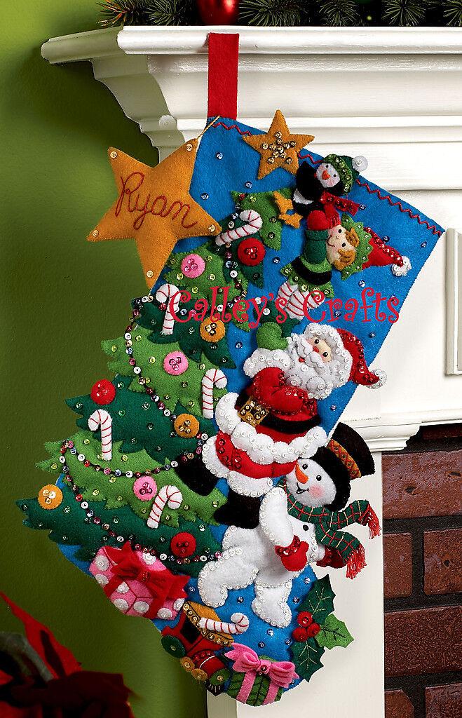 Bucilla The Finishing Touch 18 Felt Christmas Stocking Kit 86278 Santa Frosty