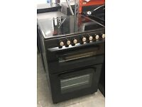 Black Hotpoint Ceramic Top Double Fan Oven 600 Wide