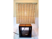 Retro, Cube Table lamp, Bedside Lamp, Wood Base, with Woven Wicker Basket Lamp Shade