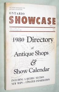 RARE ONTARIO SHOWCASE 1980 DIRECTORY OF ANTIQUE SHOPS (incl. QUE