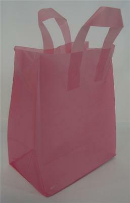 Pink Frosted Design Plastic Retail Shopping Bags W Handles 10 Qty. 8 X 5 X10
