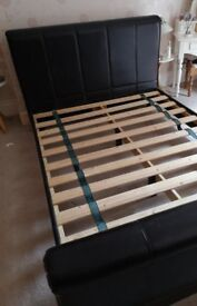 King-size bed, synthetic leather, as new