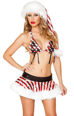 NEW! J VALENTINE CANDY CANE SKIRT SET L Sexy Striped Red Christmas Costume USA