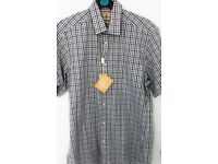 BARBOUR BUDDON CHECKED SHORT SLEEVE SHIRT IN NAVY SMALL NEW