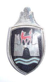 VOLKSWAGEN BEETLE WOLFSBURG BONNET BADGE (ORIGINAL & COLLECTABLE TYPE 1 1953 – 1962)