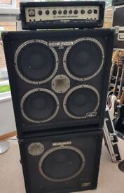 Behringer Ultrabass 450w head plus 4x10 and 1x15 speakers