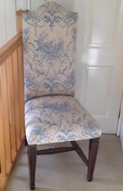 Chair upholstered in Laura Ashley material with two matching cushions and bed valance