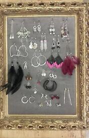 28 pairs if costume jewellery earrings