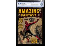 Amazing Fantasy 15 CBCS 5.0, Off-White to White Pages, unrestored, 1962 comic book