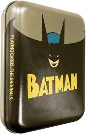 Cartamundi DC Comics Batman Playing Cards in Embossed Retro NEW in Metal Tin