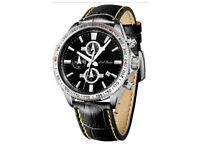 MENS LA BANUS STAINLESS STEEL CHRONOGRAPH WATCH BLACK LEATHER STRAP