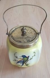 VINTAGE Art Deco Porcelain China Blue Bird Biscuit Barrel Lemon Yellow: Stamped: CWS EPNS. ANTIQUE