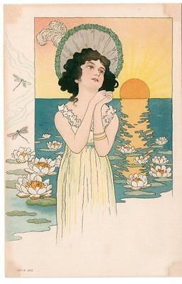 Early  ART NOUVEAU  Glamour  Lady German  Postcard