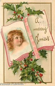 Christmas Postcard, Embossed with Image of a Child x43221