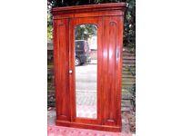 VICTORIAN MAHOGANY SINGLE MIRROR DOOR WARDROBE GOOD ANTIQUE COLOUR PATINA & CONDITION