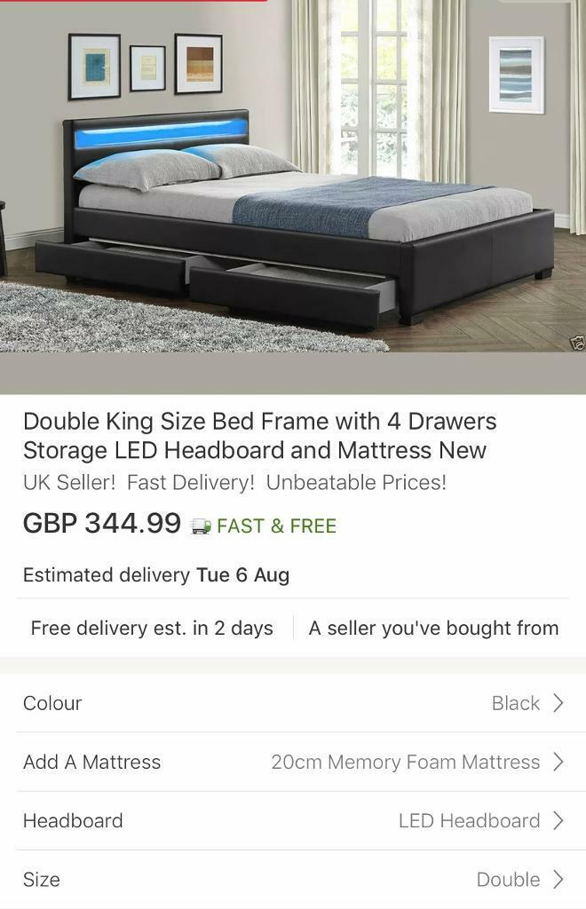 more photos 85d9c c75f6 Double bed with led headboard , mattress and drawers | in Caerleon, Newport  | Gumtree
