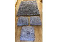 Next Grey / Silver Plush Rug & 3 Matching Cushions
