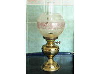 English Edwardian Oil Lamp with Globe Shade in working order