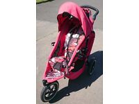 Phil & Teds Patterned Double Pushchair in Red