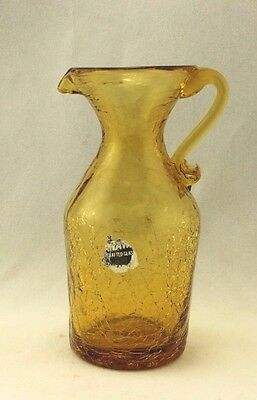 KANAWHA AMBER CRACKLE GLASS PITCHER  4-1/2""