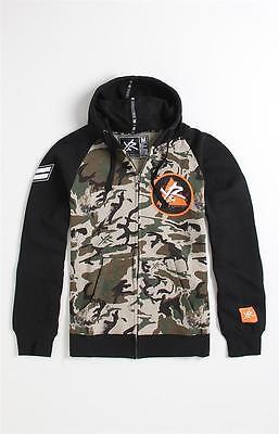 Slim Zip Fleece (Young & Reckless Mens Camo Black Zip Hoodie Fleece Slim Fit Jacket New NWT)
