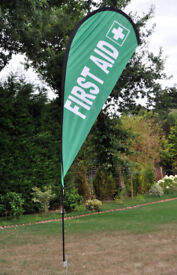 "Teardrop Flag, ""FIRST AID"", 2.65 metres."