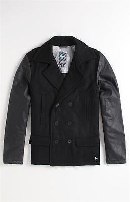 Moderne Peacoat (Modern Amusement Neal Black Wool Blend Double Breasted Peacoat Jacket Coat NWT)