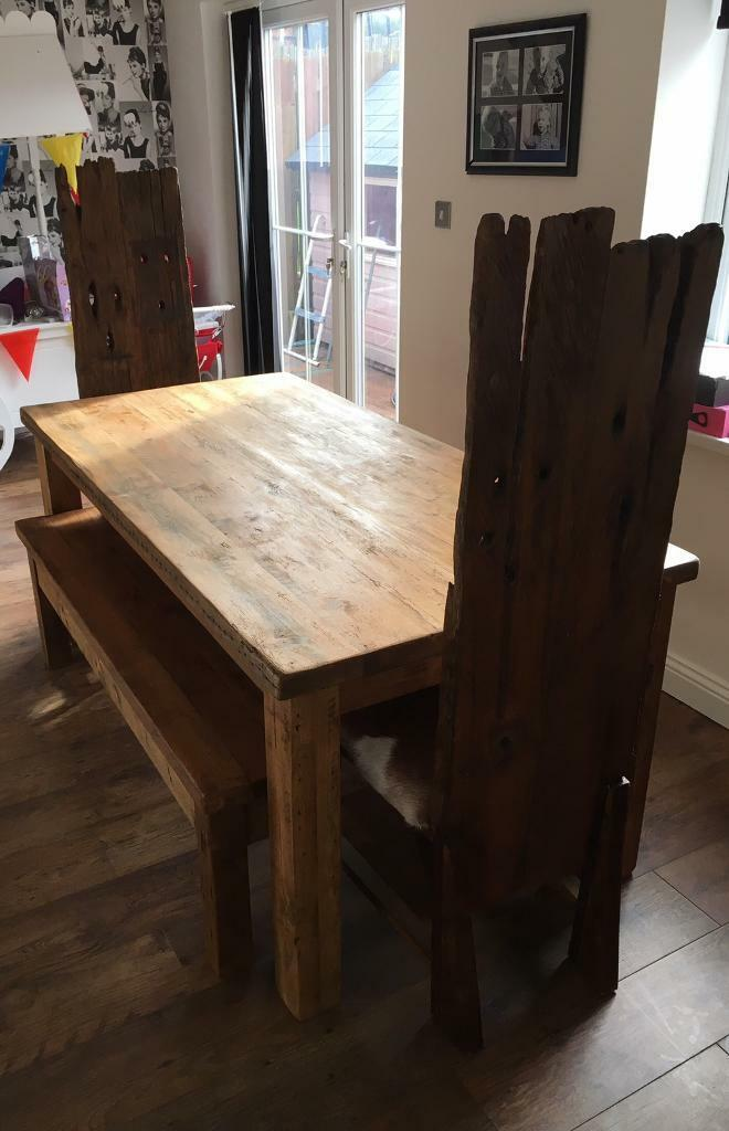 Picture of: Chunky Reclaimed Wood Dining Set For Sale In Insch Aberdeenshire Gumtree