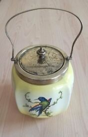 Art Deco Porcelain China Blue Bird Biscuit Barrel Lemon Yellow Vintage / Stamped: CWS EPNS Antique
