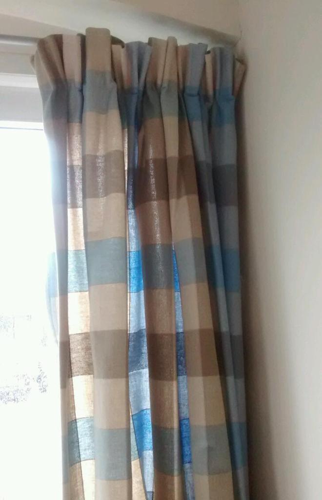 Pair Curtains Blue/Brown Check U0026 Grey Metal Curtain Pole Both IKEA Pencil  Pleat 240