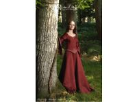 Winter wedding dress, medieval style, deep red and gold