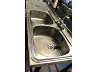 Double sink and drainer