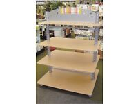 4 Tier Shop Display Stand with Beech Effect Shelves and Steel Legs