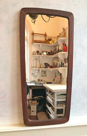 Retro Hard Wood Rectangular Feature Wall Mounted Mirror Mid Century Gplan Style
