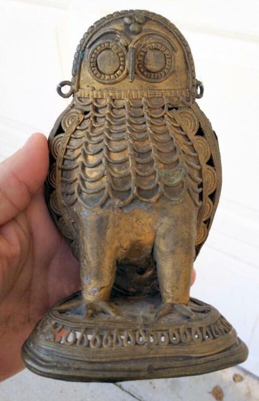 Old Bronze African Tribal Art Bird Owl Art Sculpture Statue Africa Benin Figure