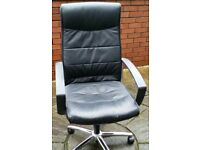 faux leather office chair, gas-lift seat height adjust. high backrest. In very good condition.