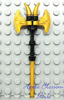 NEW Lego Ninjago Ninja GOLD CEREMONIAL STAFF Axe Blades & Spikes Minifig Weapon