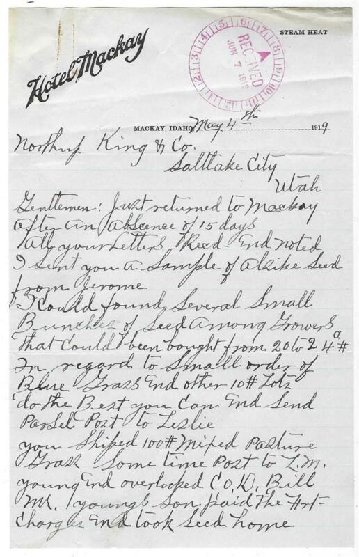 Hotel Mackay Letter, 1919, Mackay, Idaho to Northrup King & Co.