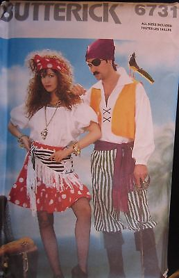 Pirate Halloween Costume Pattern (Vintage Butterick SEWING Pattern 6731 Adult Pirate Wench Halloween Costume)
