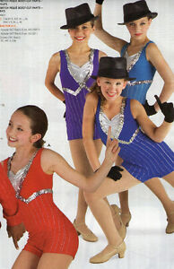 NEW-JAZZ-COSTUME-HIPHOP-SHORTY-UNITARD-SILVER-FOIL-STRIPED-TUX-COLORS-GIRLS-LADY