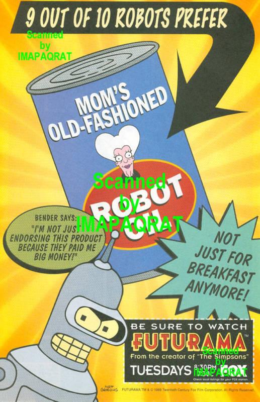Futurama 9 out of 10 Robots . . . Bender 1999 FOX TV Print Ad