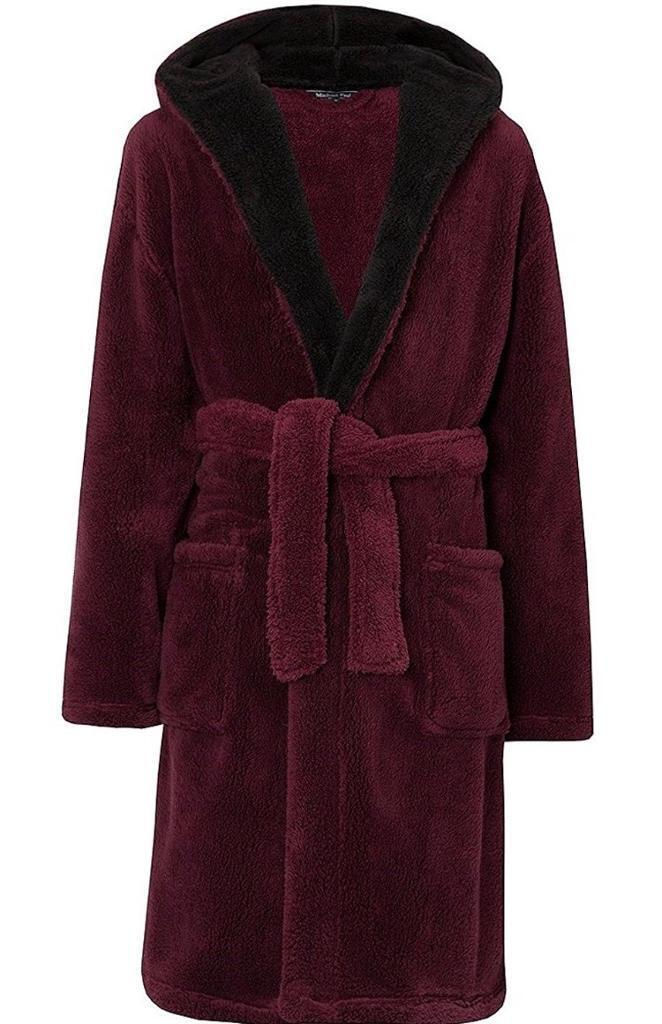 Burgundy Luxury Dressing Gown Unisex Mens Womens Hooded Gown In