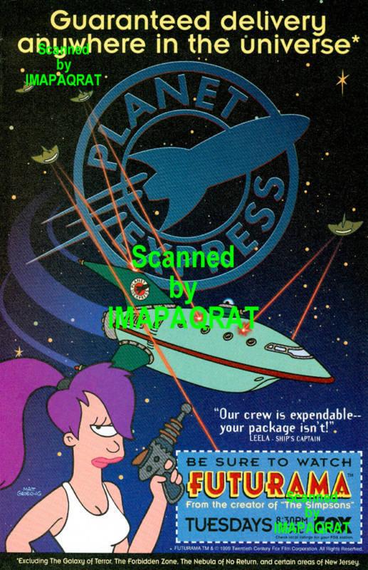 1999 Futurama Guaranteed Delivery Leela FOX TV Print AD